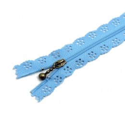 Fermeture Eclair 30 cm Dentelle Bleu-Ciel