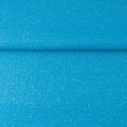 Bord Côtes Lurex Argent Bleu Aqua